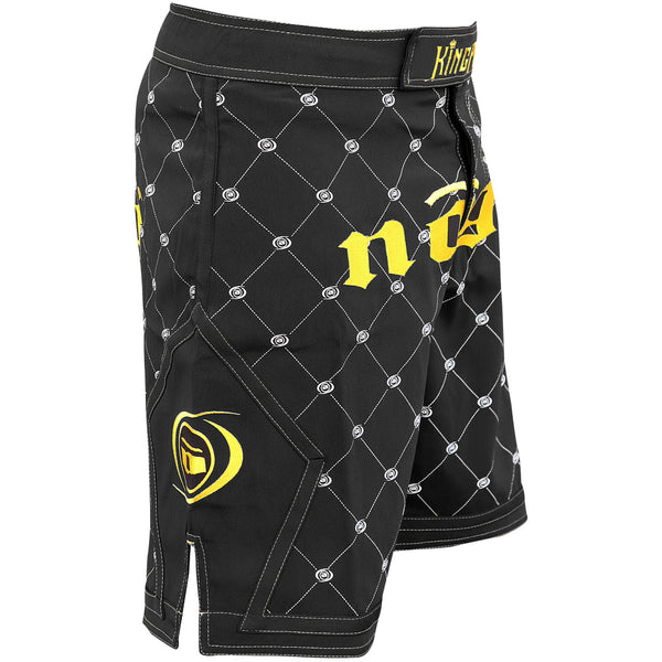Nogi Kingpin mma fight shorts black and gold Right