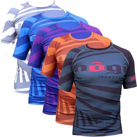 Exeter Short Sleeve Rank Rashguard White, Blue, Purple, Brown and Black