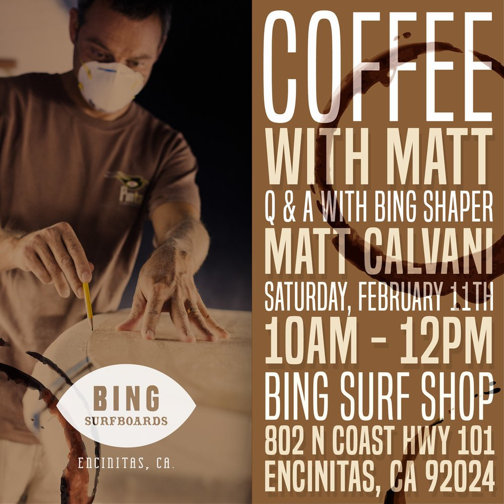 Coffee with Matt Calvani – Saturday, February 11th 10am – 12pm