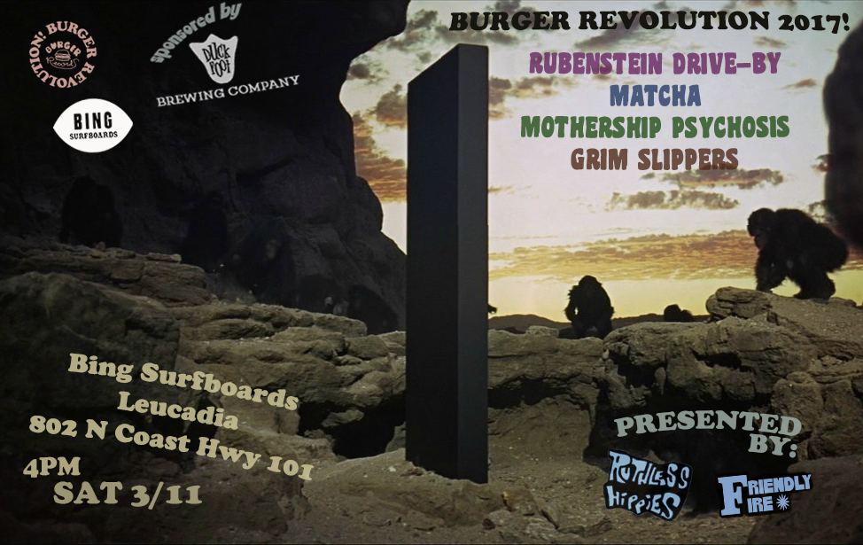 Burger Revolution! Saturday, March 11th 4pm – 8pm at Bing Surf Shop