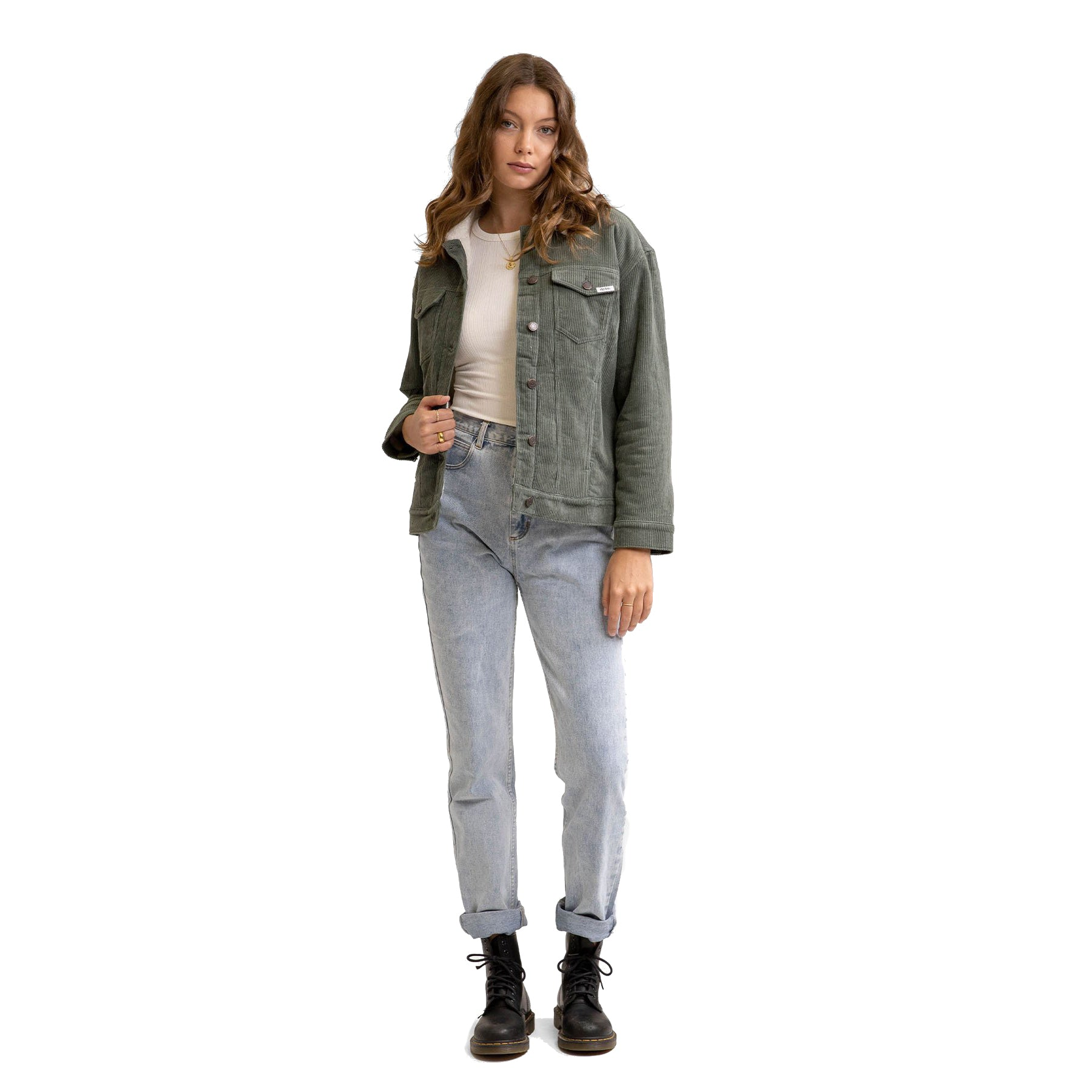 STEVIE CORDUROY SHERPA LINED JACKET FOREST