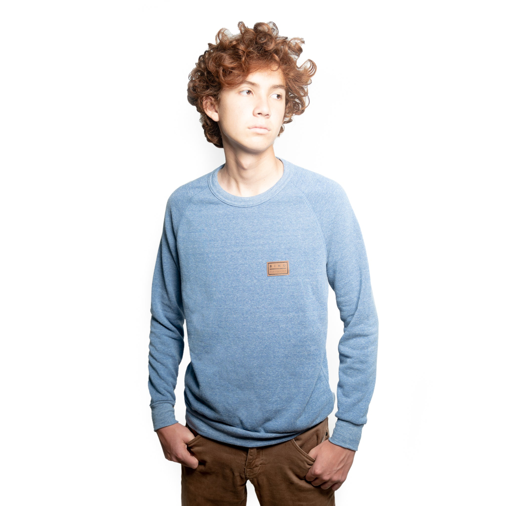 PATCH PREMIUM CREW SWEATSHIRT PACIFIC BLUE