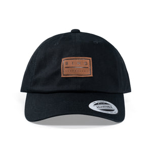 LEATHER PATCH PREMIUM CURVED DAD HAT BLACK