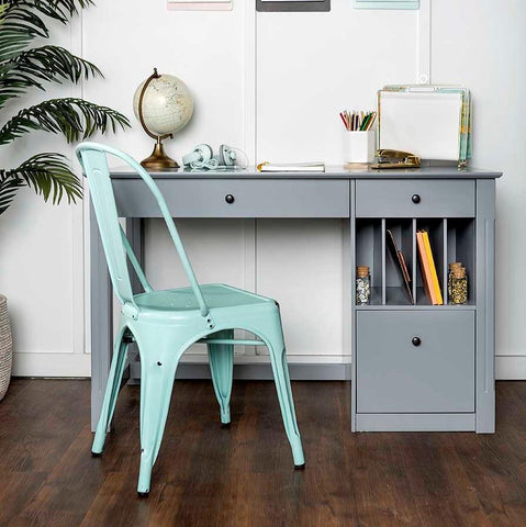 Clara Wood Desk in Grey