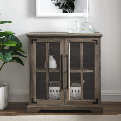 Modern Farmhouse Windowpane 2-Door Accent Cabinet