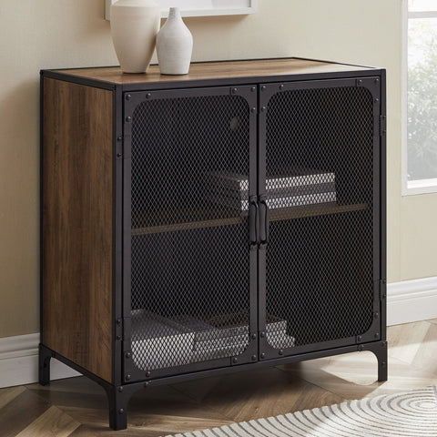 Mesh & Wood Accent Table