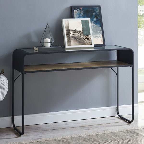 "46"" Curved Metal Entry Table"