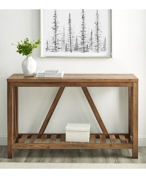 Rustic A-Frame Entry Table