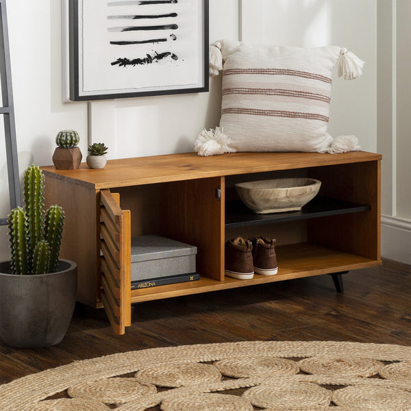 Cory Solid Wood Slat Door Storage Bench