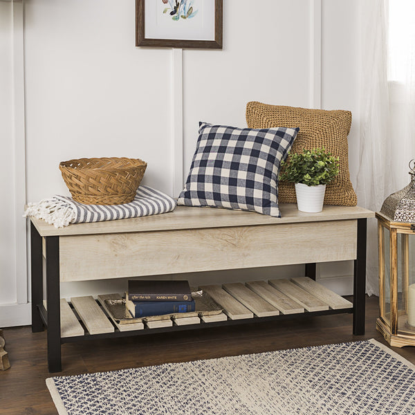 Park City Metal & Wood Storage Bench