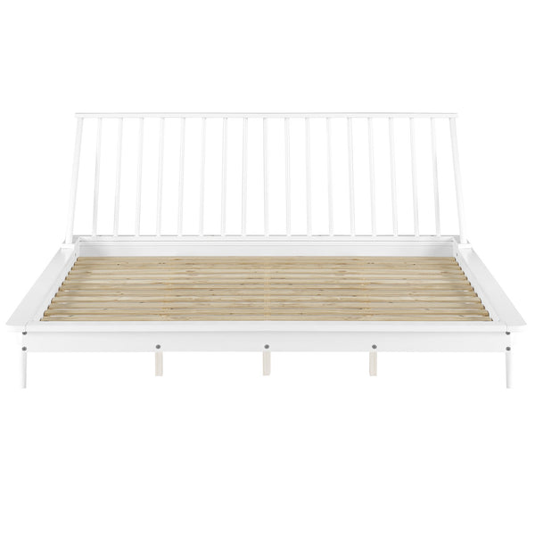 Spindle Back Solid Wood Queen Bed (B&W Edition)
