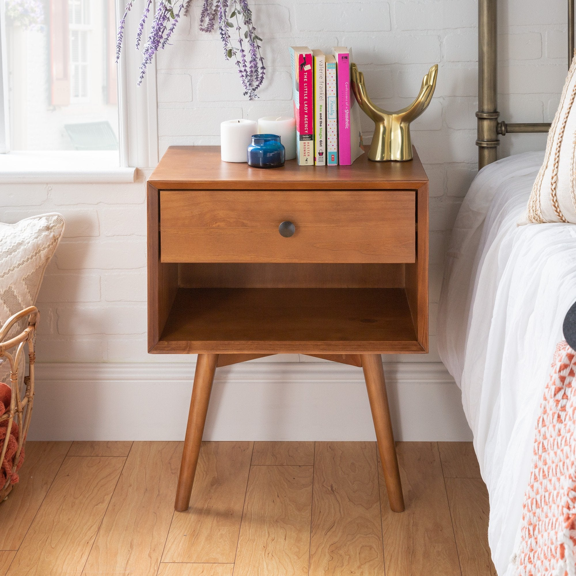 Mid-Century 1 Drawer Solid Wood Nightstand