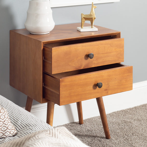 Mid-Century 2 Drawer Solid Wood Nightstand