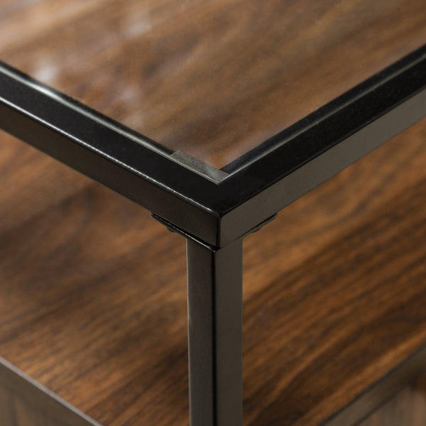 Miller Modern Glass Top 2 Door Side Table
