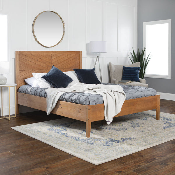 Chevron Solid Wood Queen Bed
