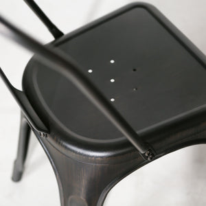 Metal Cafe Chair in Black
