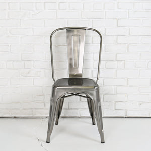 Metal Cafe Chair in Gun Metal