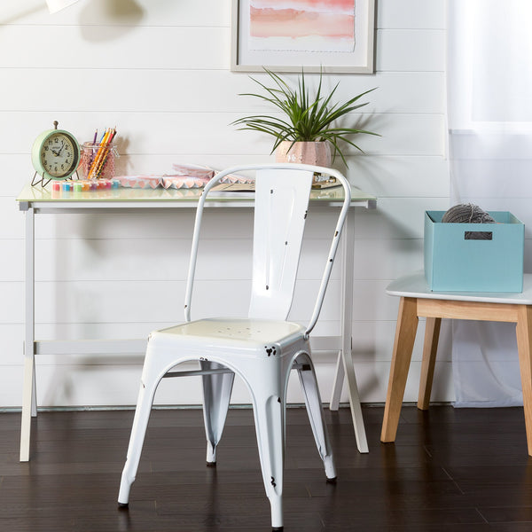 Metal Cafe Chair in White