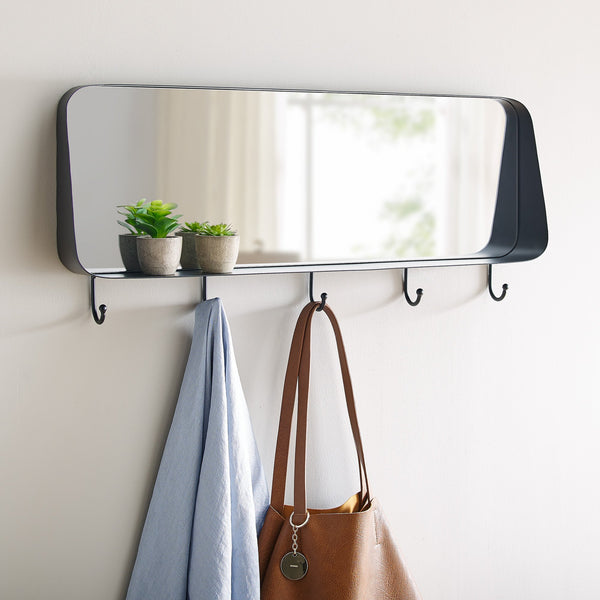 Rectangle Rounded Corner Mirror with Hooks