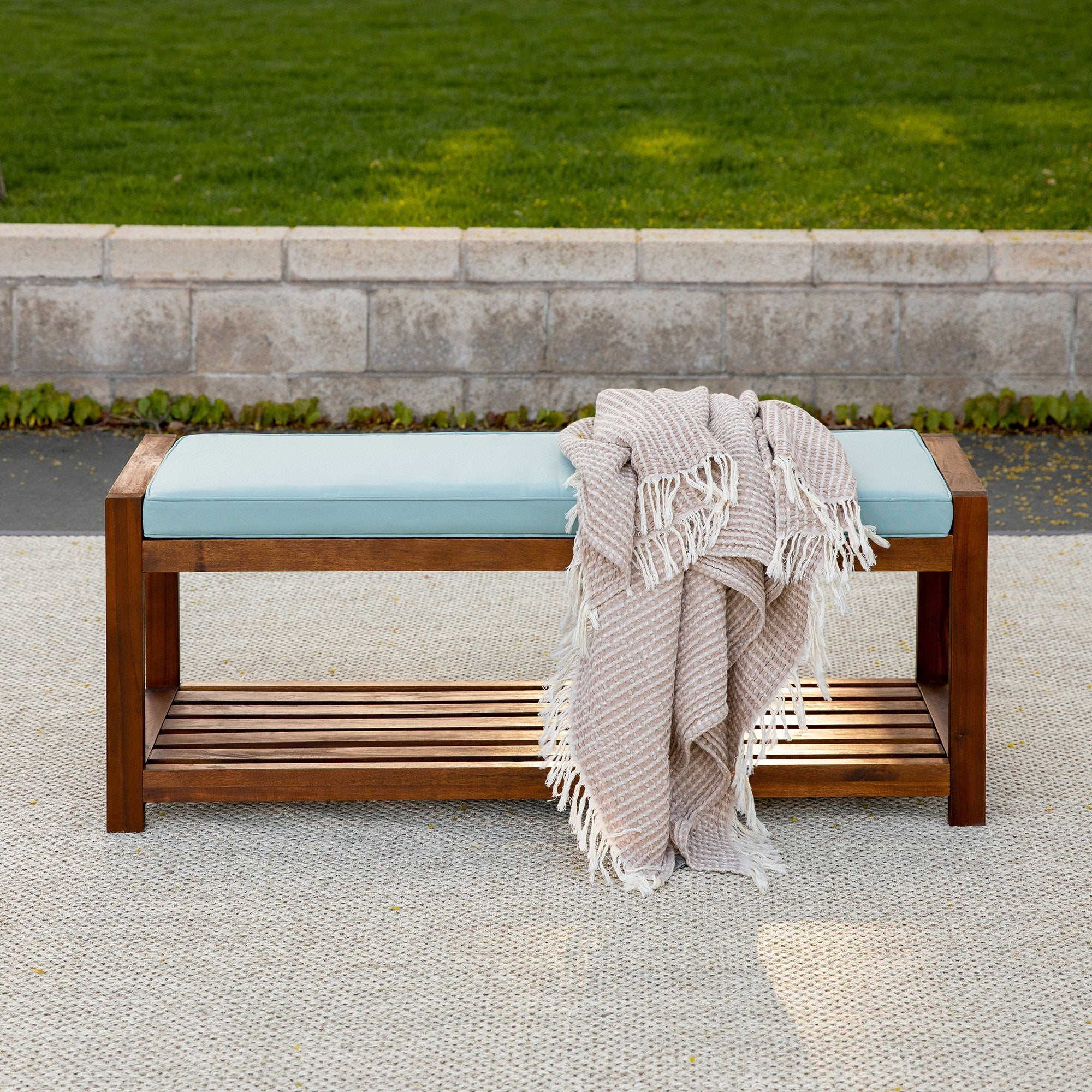 "48"" Patio Wood Bench with Cushion"