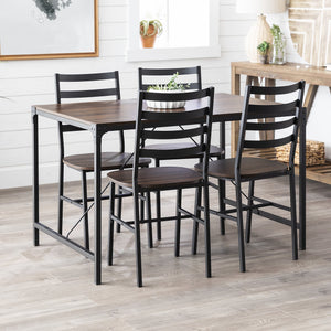5-Piece Industrial Angle Iron Dining Set with Slat Back Chairs