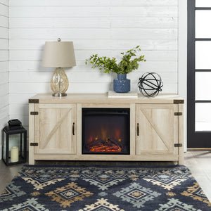 Barn Door Fireplace Console