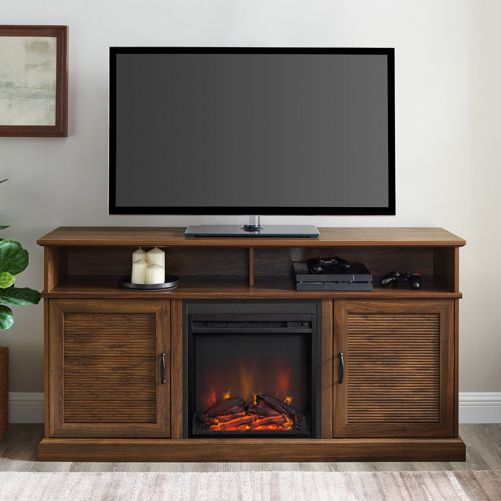 Dayton Fluted Door Fireplace TV Stand