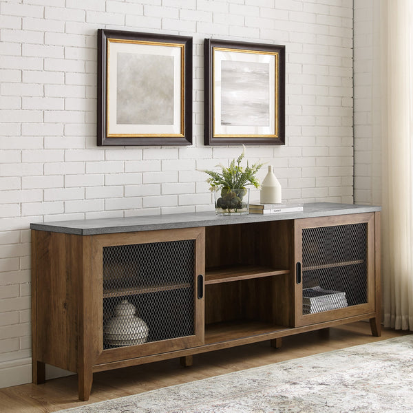 Arthur Industrial Sliding Mesh Door TV Stand