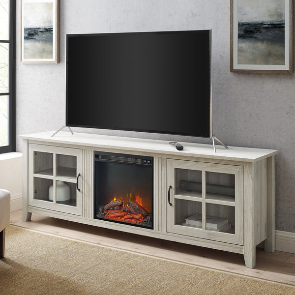 Simple Fireplace Console with Glass Doors
