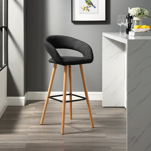 "Modern 24"" Curved Open Back Bar Stool"