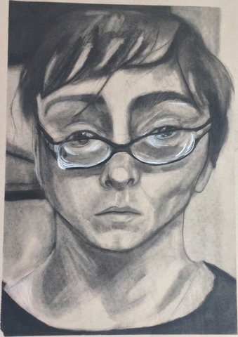 charcoal self portrait of annabel conklin student work