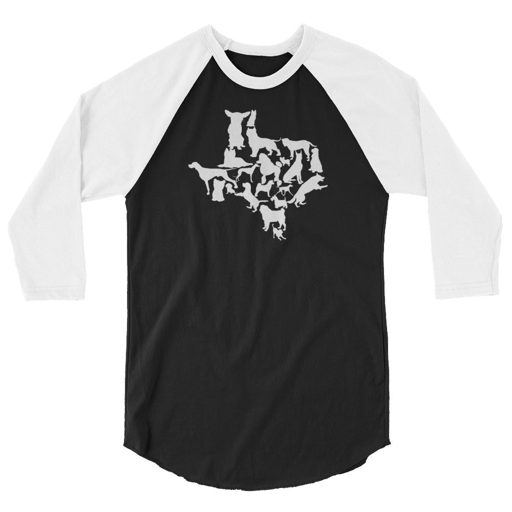 Texas Dog Lovers 3/4 sleeve raglan shirt