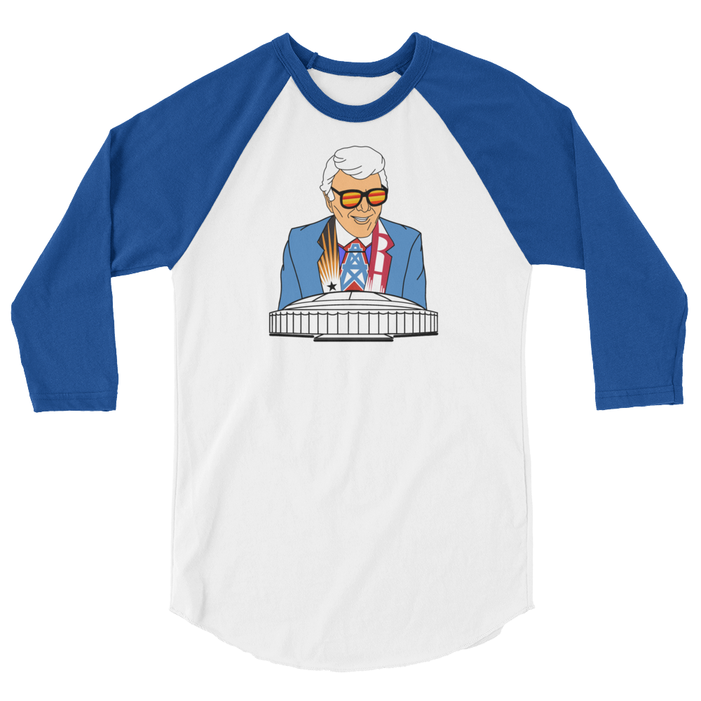 Marvin Zindler OILERS Version Houston Sports - Unisex 3/4 sleeve raglan shirt