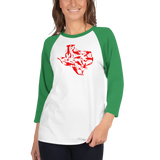 Texas Crawfish - 3/4 sleeve raglan shirt