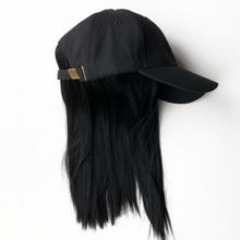Black Wool Cap with Halo Wig Hair Piece from Dear Martha