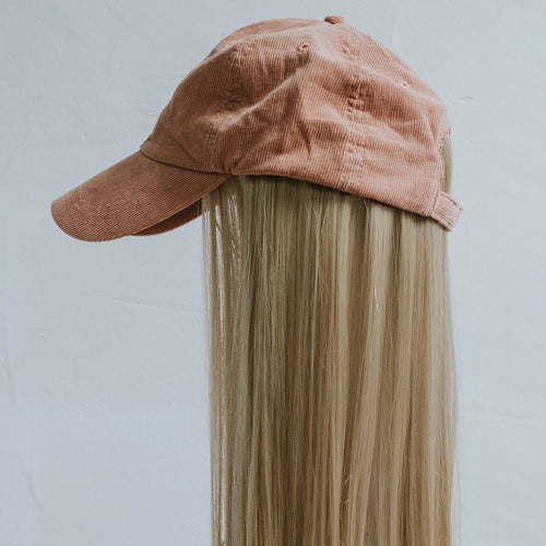 Pink Corduroy Cap with Partial Wig - Gorgeous You