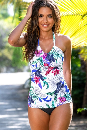 Fiji Pocketed Halter Tankini Top