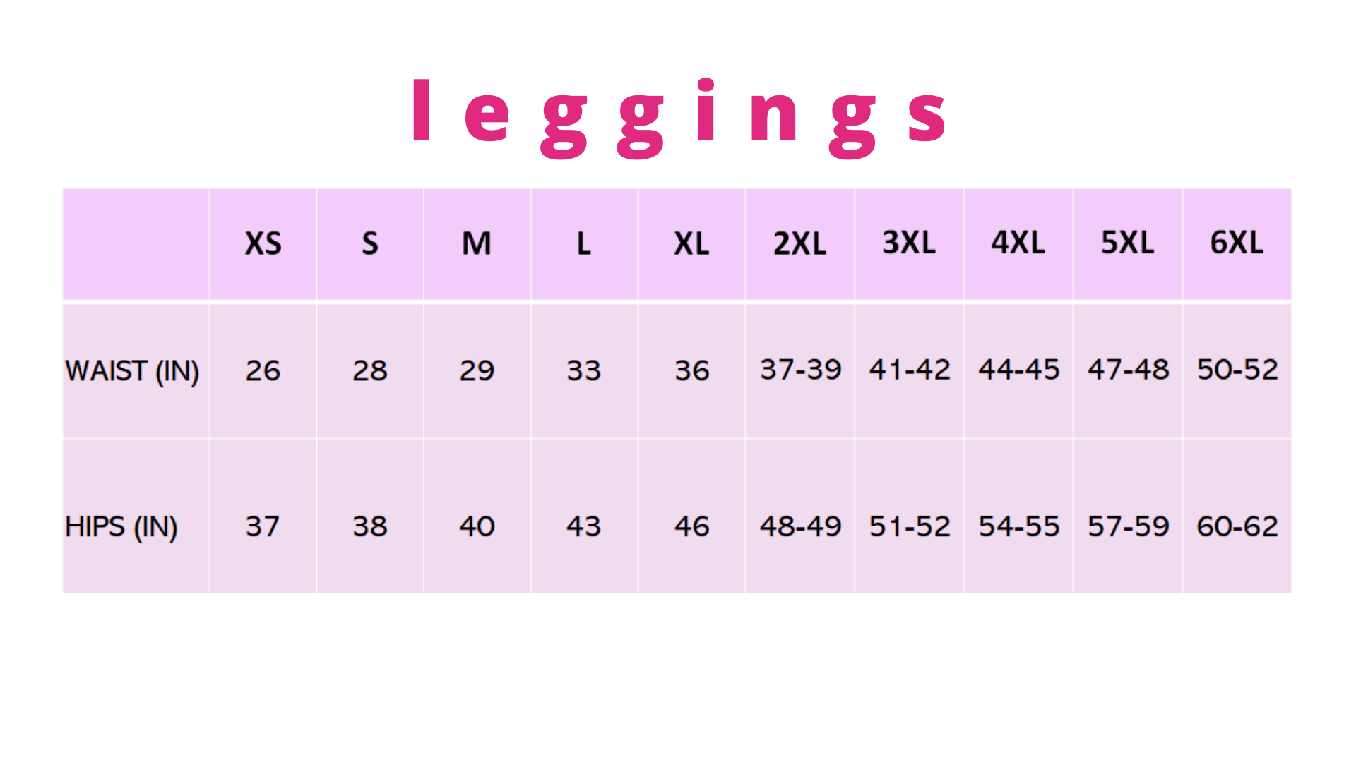 Pynk Haus leggings sizing guide
