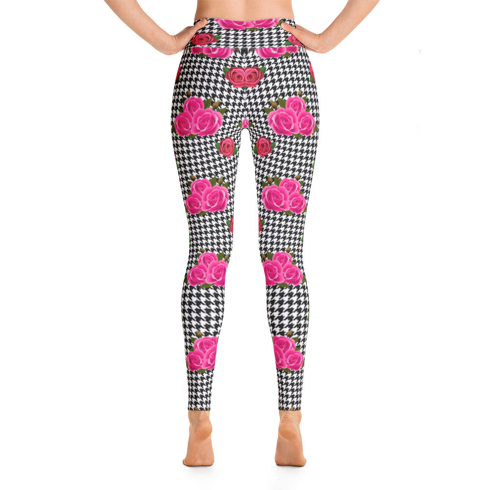 Houndstooth and rose leggings by Pynk Haus.  Fitness and fashion tights pynkhaus.com