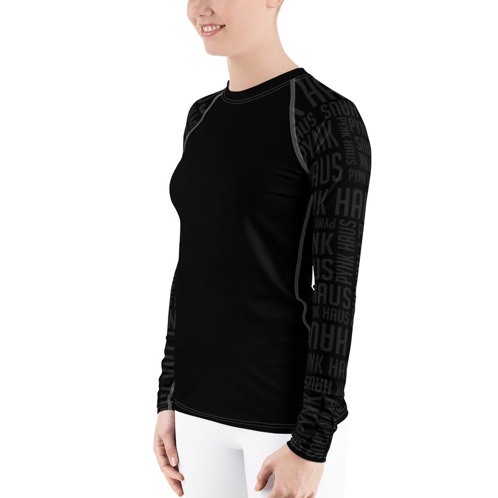 Pynk Haus black fitness rash guard