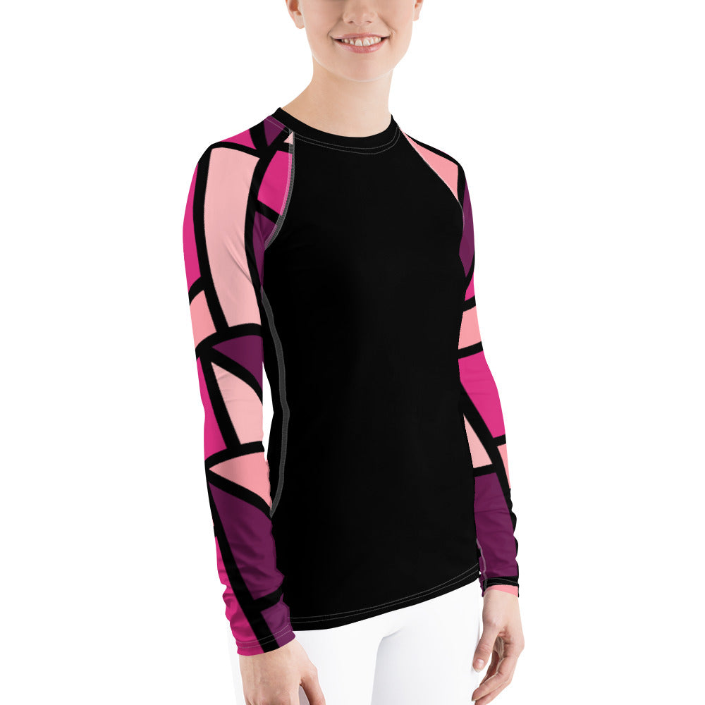 Ladies pink sleeved rash guard by Pynk Haus