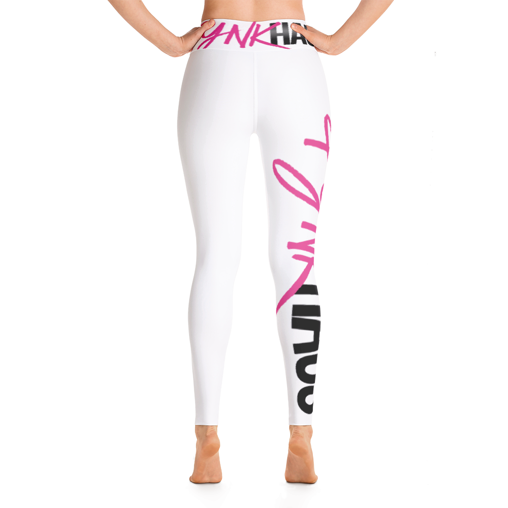 Pynk Haus logo yoga leggings with raised waistband is a staple for the fashionable yogi.  Available in white, black and grey with pink logo design.