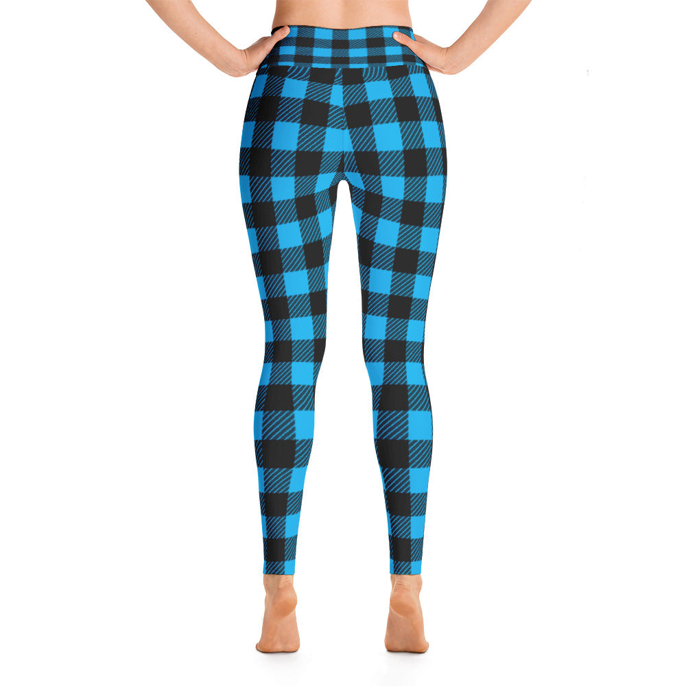 blue lumberjack plaid high-waisted tights by Pynk Haus