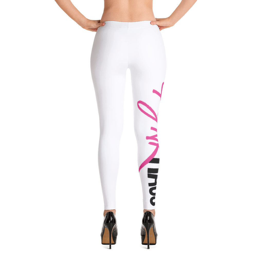 These versatile and super-stretchy mid-rise women's yoga leggings with Pynk Haus logo is perfect for downward-dogging, pilates, HIIT, lunging and lounging.  Available in white with pink logo.