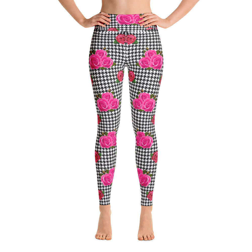 Pink houndstooth rose leggings by Pynk Haus
