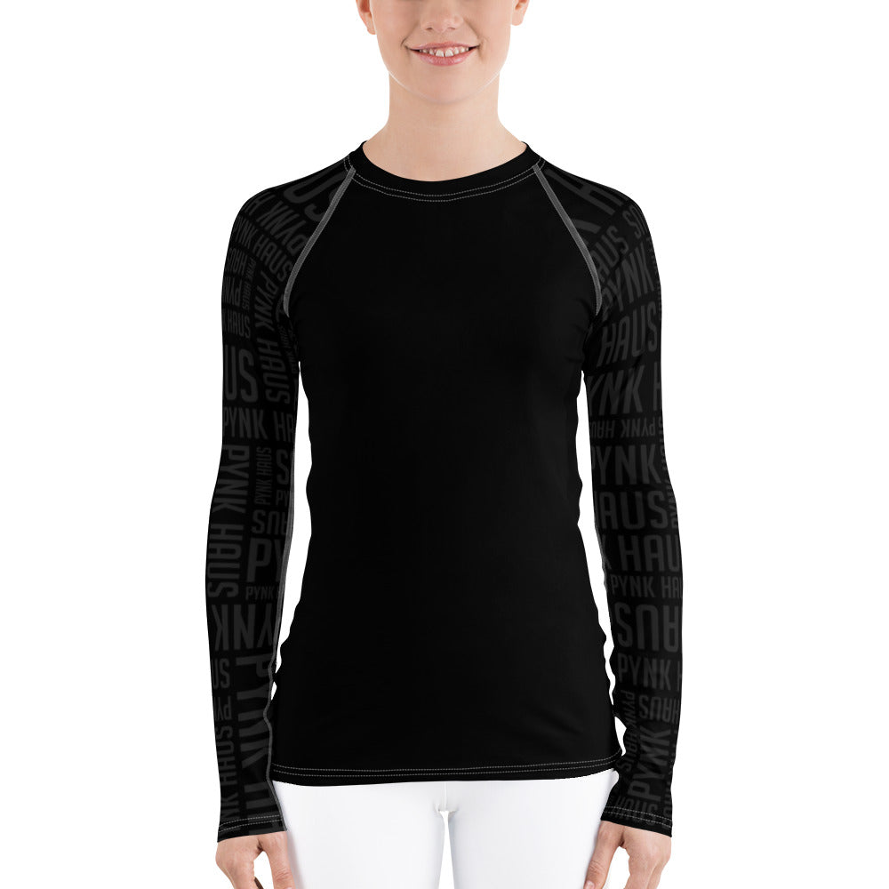 Black fitness rash guard with faded Pynk Haus logo