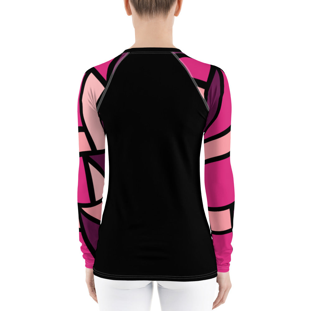 Vibrant pink rash guard by Pynk Haus fitness.