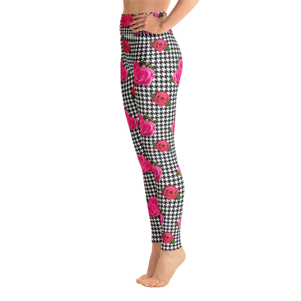 Houndstooth and rose leggings by Pynk Haus