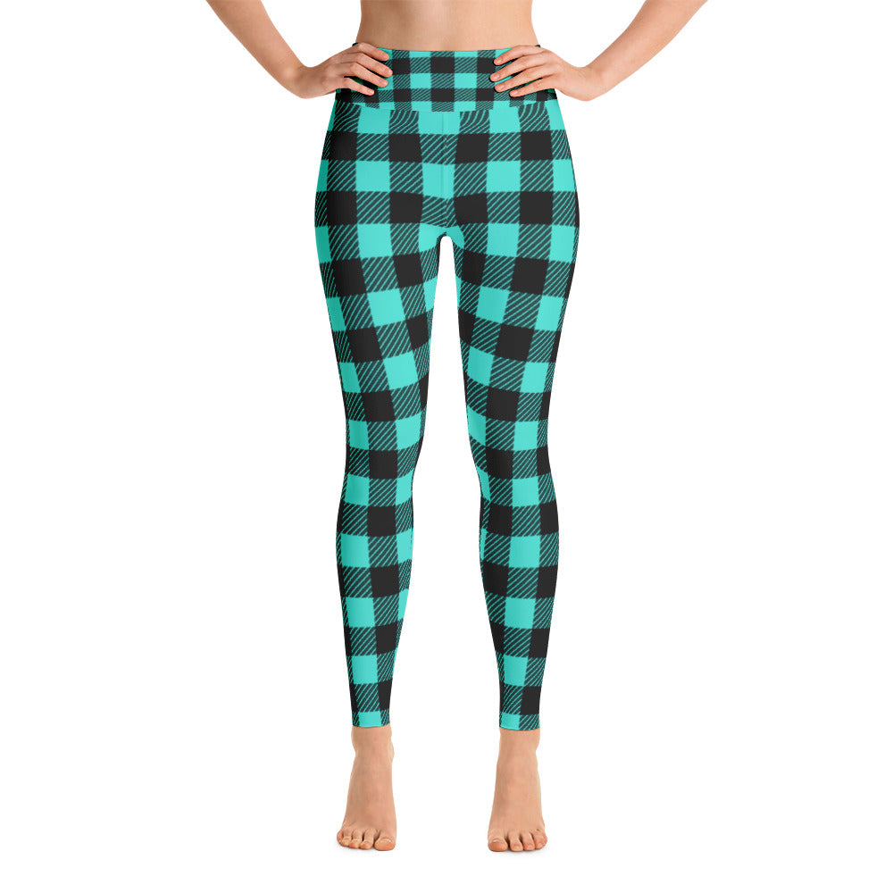 Pynk Haus green plaid leggings with lumberjack design