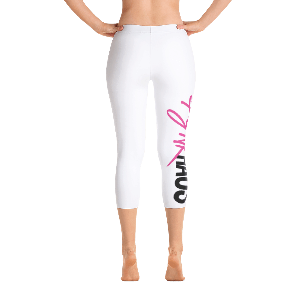 White capri fitness leggings by Pynk Haus